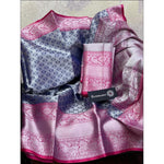 Grey With Pink Handloom Banarasi Muslin Party Saree