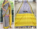 Grey With Yellow Trendy Linen Party Saree Party saree