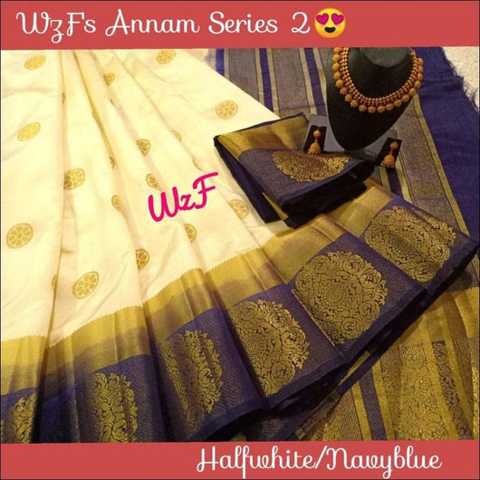 Half White With Navy Blue Border Elegant Zari Raw Silk Saree