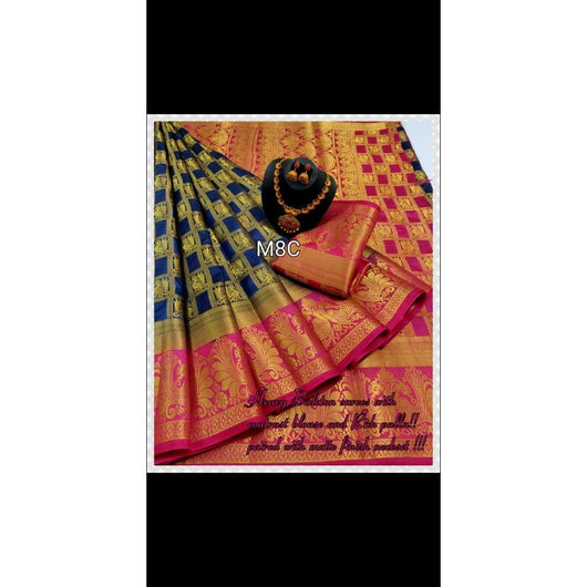 Heavy Jari Checked Magenta With Blue Border Elegant Kalyani Silk Saree