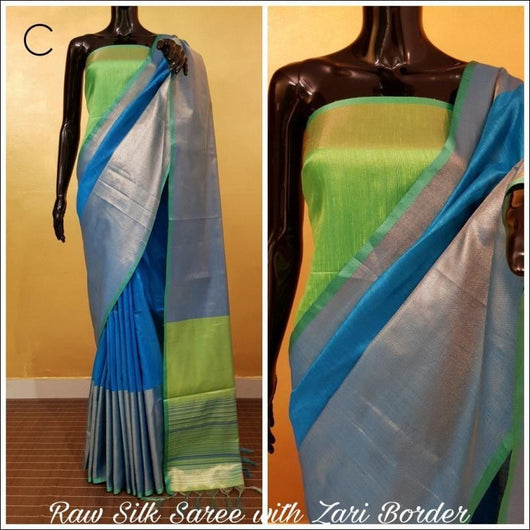 Khadi Cotton silk Blue saree with Contrast pallu