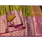 Light Green With Pink Elegant and Traditional Pure Tanchuri Silk Saree