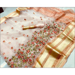 Light Orange Pure Organza Silk Elegant Party Saree