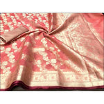 Light Orange With Brown Piping Banarasi Kota silk cotton Party Saree With Designer Blouse