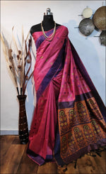 Lotus Pink Handloom Silk Weaving Raw Silk Saree Silk Saree