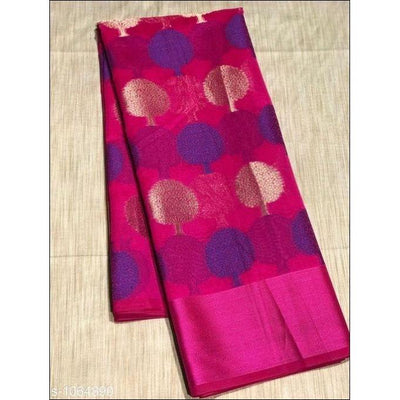Magenta Banarasi Soft Cotton Silk Tree Buuta Party Saree