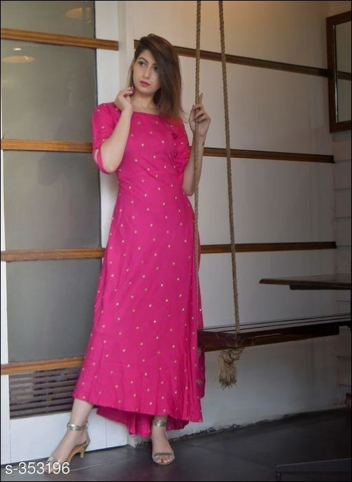 Magnificent Rayon Pink Fancy Kurti Kurti