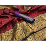 Maroon Banarasi Kora Muslin Party Saree