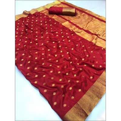 Maroon Elegant and Traditional Soft Silk Saree With Butti Weaving