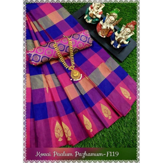 Multi Colored Blue and Pink Checks Soft and Light Weight Arani Silk Saree