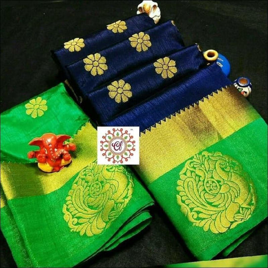 Navi blue Green Tussar annam peacock saree
