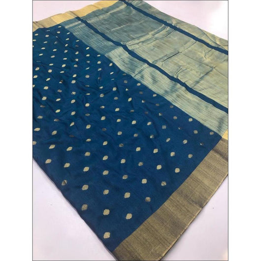 Navy Blue Elegant and Traditional Soft Silk Saree With Butti Weaving