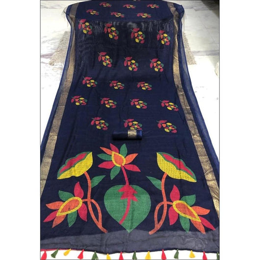 Navy Blue Kesh Blended Linen Party Saree With  Worked Pallu and Fancy Tussels