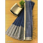 Navy Blue Stylish Elegant Jamdani Silk Saree