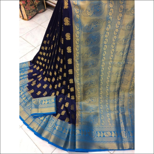 Navy Blue With Blue Border Pure Organza Silk Saree Silk Saree