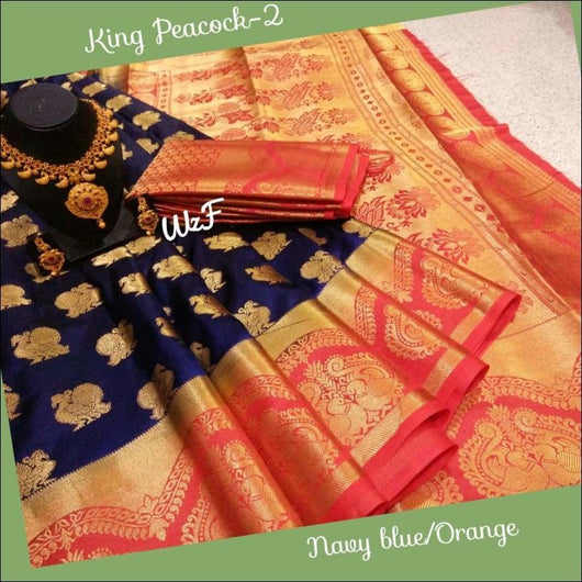 Navy Blue with Orange Decorative Borders with Queen Peacocks Soft Silk Saree
