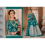 Ocean Green Royal Antique Banarasi Art Weaving Silk Party Saree