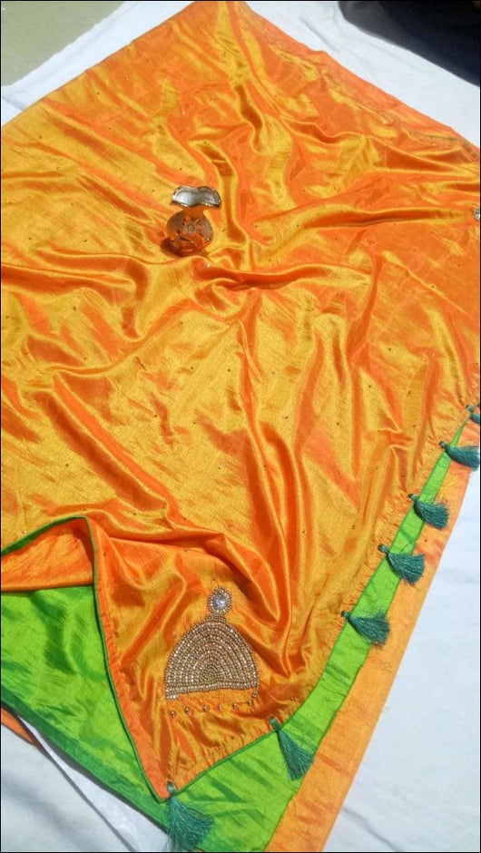 Orange Jumka Design Stone Work Cadberry Silk Party Wear Saree With Contrast Green Blouse Party saree