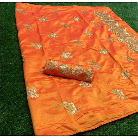 Orange Sana Silk Party Saree With Heavy Embroidery