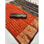Orange Soft Silk Weaving Party Saree With Contrast Blouse