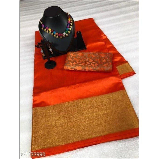 Orange Stunning Tussar Silk Party saree With Jacquard Blouse