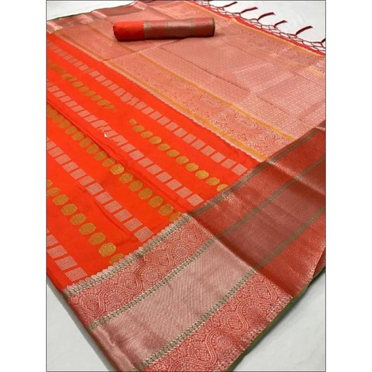 Orange Traditional Soft Silk Saree With Beautiful Silver Border