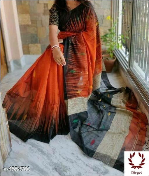 Orange Trendy Classy Cotton Silk Saree Silk Saree