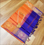 Orange With Blue Pure Silk cotton Silk Saree With Pochampalli Border Silk Saree