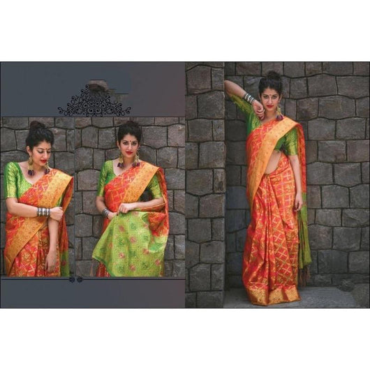 Orange With Green Classy Soft Patola Banarasi Silk Saree