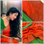 Orange With Green Contrast Blouse Elegant Party Saree