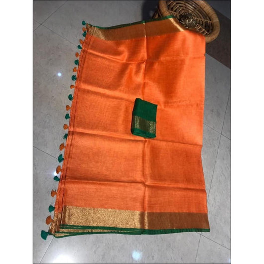 Orange With Green Contrast Blouse Trendy Linen Party Saree
