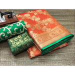 Orange With Green Piping Banarasi Kota silk cotton Party Saree With Designer Blouse
