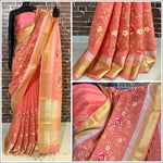 Peach linen Party Saree With Thread Embroidery