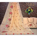 Peach Trendy Linen Party Saree With Embroided Blouse