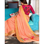 Peach With Contrast Blouse Elegant Soft Silk Party Saree