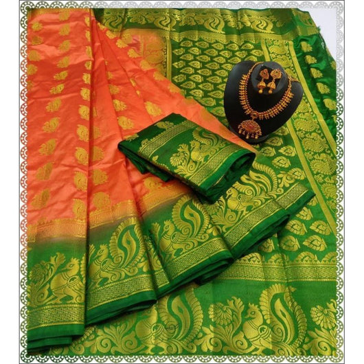 Peach With Green Border Stunning Rich Balaton Silk Saree