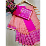 Peach With Pink Doriya Summer Wear Party Saree