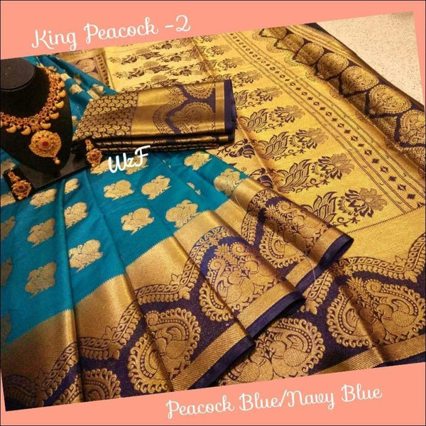 Peacock Blue with Navy Blue Decorative Borders with Queen Peacocks Soft Silk Saree