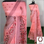 Pink Attractive Semi Lenin Party Saree