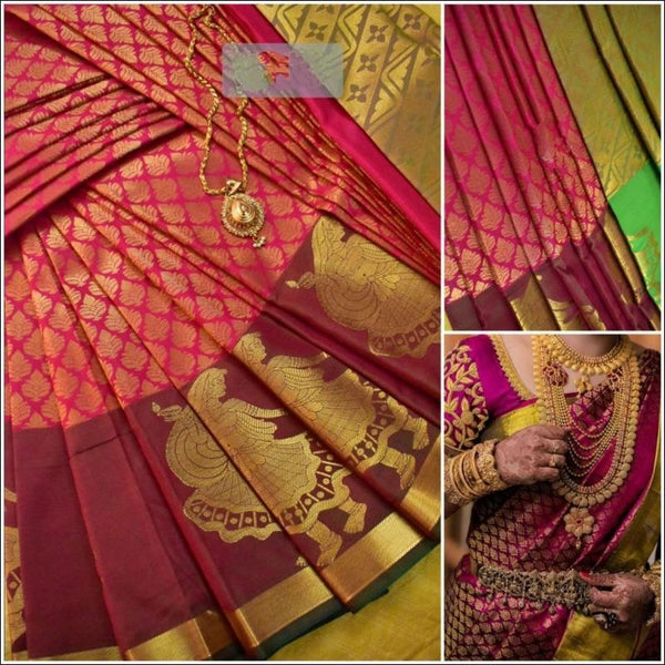 Pink Exclusive Bridal Collection Silk Saree Silk Saree