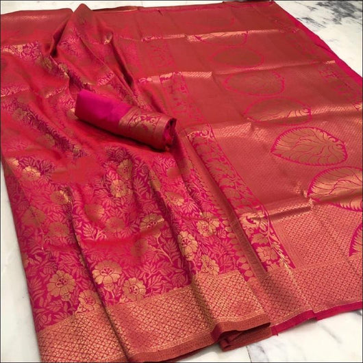 Pink Handloom Silk Saree With Heavy Zari Work