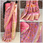 Pink linen Party Saree With Thread Embroidery