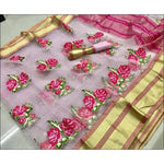 Pink Pure Organza Silk Elegant Party Saree