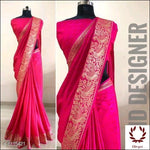 Pink Sana Silk Party Saree With Woven Design Party saree