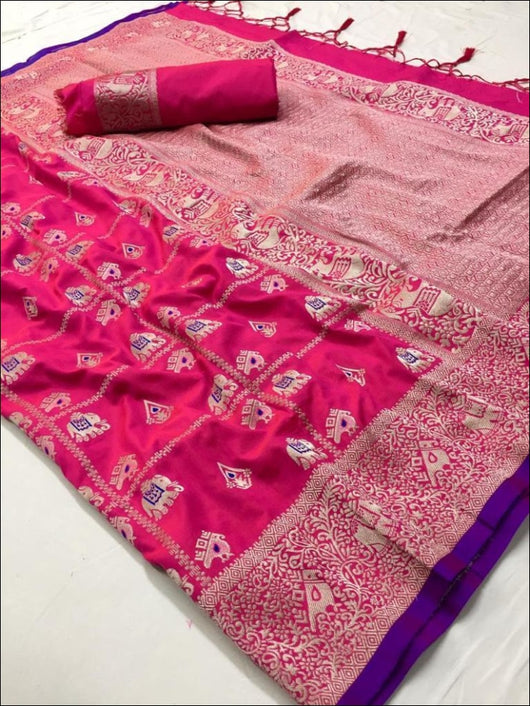Pink Soft Banaras Silk Saree With Silver Zari Weaves Silk Saree
