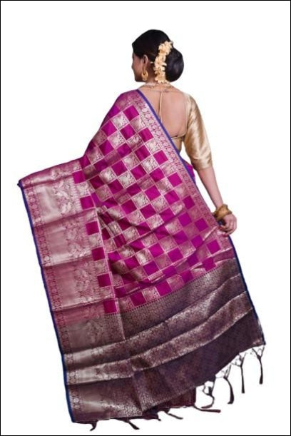 Pink Soft Silk Saree With Silver Zari Weaves Silk Saree