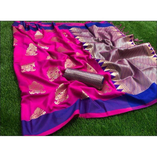 Pink Soft Weaving Silk Saree With Gorgeous Zari Weaves