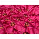 Pink Stunning Moss Crepe Party Saree With Gold Beads Work Party saree