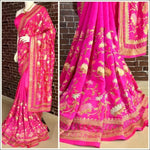 Pink Stylish Embroidery Pure Silk Party Saree