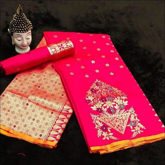 Pink Traditional Soft Silk Saree With Antique Finish